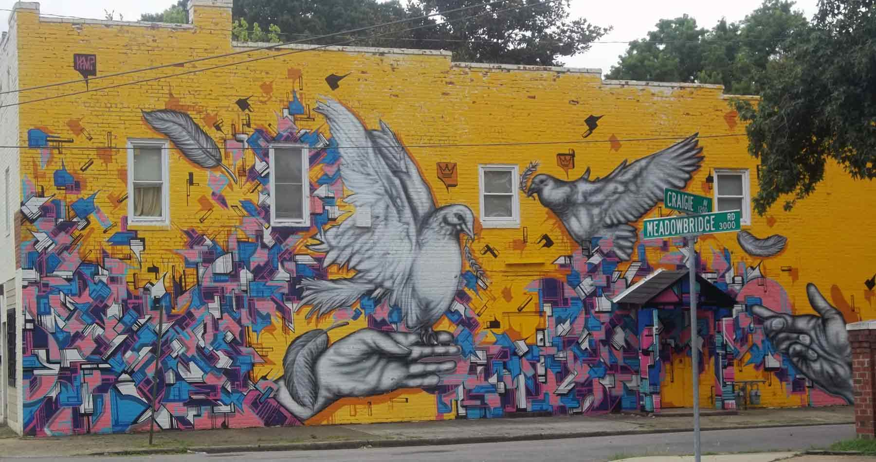 dove mural in Highland Park